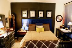 How to Decorate a Studio Apartment 15. Funky Details.   Eye-catching wallpaper or quirky accent pieces (cobalt blue door as headboard, anyone?) may not do much to visually expand the studio apartment, but they will do wonders in creating a vibrant, energetic, and magnetic space.