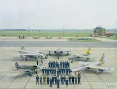 Aircraft past and present of the Central Fighter Establishment (CFE) at RAF West Raynham, Norfolk, in October 1962, as the unit moved to RAF Binbrook in Lincolnshire.  Left to right: Supermarine Spitfire (P5853) of the Central Fighter Establishment, English Electric Lightning F.1 (XM136) of the Air Fighting Development Squadron, Gloster Javelin, Hawker Hunter F.6 (XF515) and Hawker Hunter T.7 (XL595) both of Fighter Combat School.