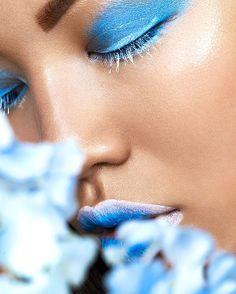 #asian #beauty # flowers #sensual #blue #white #makeup #lipstick #eyeshadow #art #photography #einechterreichwein