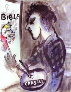 Marc Chagall. Autorretrato con una paleta, 1955. Gouache y tinta sobre papel. Colección Privada.  WikiPaintings.org - the encyclopedia of painting
