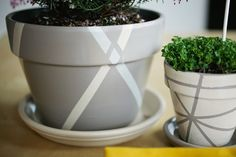 gray painted clay flower pots