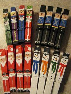 Christmas Crafts : Set of 16 hand painted Christmas Clothespins Santas Snowmen Carolers Nutcrackers Noel Christmas, Winter Christmas, All Things Christmas, Christmas Ornaments, Diy Ornaments, Christmas Projects, Holiday Crafts, Holiday Fun, Holiday Ideas