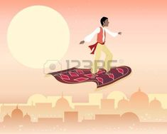 an illustration of a boy on a magic carpet flying above a far eastern skyline under a starry sky Vector