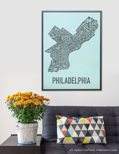 This 18 x 24 map of Philadelphia, Pennsylvania is designed in the classic Ork Posters typographic map style created by graphic designer Jenny Beorkrem in 2007. Its broken down into the neighborhoods within the city limits of Philadelphia. The letters of each neighborhoods name are turned and carefully arranged like a puzzle to fit in the geographic area of the neighborhood. Careful attention is paid to ensure a quality print and all text is legible.  Posters are offset printed with soy inks…