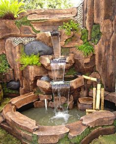 84 DIY Backyard Waterfall Ideas To Beautify Your Home Garden - bave huzan - Diy Water Feature, Backyard Water Feature, Ponds Backyard, Backyard Landscaping, Garden Ponds, Indoor Waterfall, Garden Waterfall, Waterfall Fountain, Garden Water Fountains