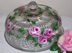 Hand Painted Roses Glass Cake Dome by Southern Lady's Vintage, via Flickr