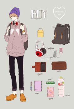 que es lo que un chico llevaría en su mochila???? Backpack Drawing, Drawing Bag, Aesthetic Art, Aesthetic Anime, Character Concept, Character Design, Nostalgia Art, Fanarts Anime, Learn Art