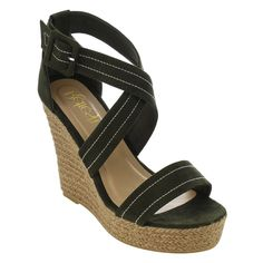 Refresh Women's Faux Stitched Criss Cross Strap Espadrille Platform Wedge Sandals
