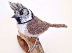 Crested tit British bird miniature crochet by FreshlyKnittedThings ♡