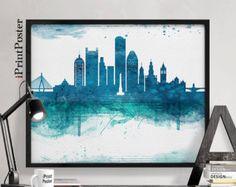 Boston skyline, poster, watercolor, Boston print, Massachusetts, travel, art print, home decor, painting, blue, teal, wall art, iPrintPoster