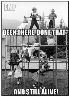 Iron jungle gyms on the playground....I saw some horrific accidents on these as a child...but we kept right on playing on them...just came with the territory and we all knew it...it never stopped us from living our childhood to the fullest!!....simple resilant kids of the 60s!!.......b♡
