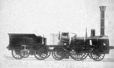 Der Adler, Deutschlands erster Zug, fährt 1835 von Nürnberg nach Fürth, Fotografie  aus den frühen 1850er Jahren