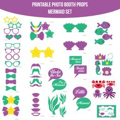 ♥ This set of Photobooth props has 19 pages and includes:    2 Bows    4 Bowties    8 Glasses    5 Mustaches    5 Lips    2 Crowns    2 Necklaces    2 Shells    2 Seashell Bras    1 Starfish Bra    2 Starfish    1 Clam    1 Seahorse    1 Bubble    4 Fish    2 Crabs    2 Octopus    3 Seaweed    6 Spe