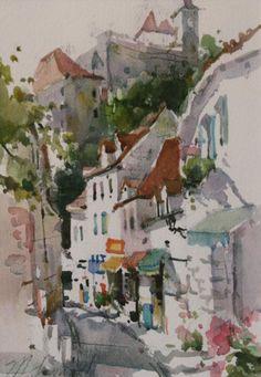"""Rocamadour, France"" 10"" x 8"" Marilyn Simandle Watercolor"