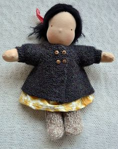 Penelope's Pea Coat - Waldorf Doll Sweater pattern by ruth haske