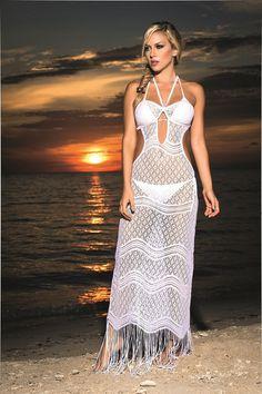 Hot and Sexy White Crochet Net Long Beach Dress Cover-Up – SoHot Swimwear