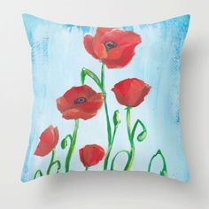 16in by 16in Poppy Pillow Poppy Throw by JessicaMingoDesigns