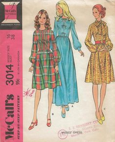 McCall's 3014 ©1971 Misses' Dress. Back zippered dress has gathered skirt, sleeves gathered into snapped cuffs. A has front neck vent and bow. B has braid trim. C has tie collar. 15 pattern pieces