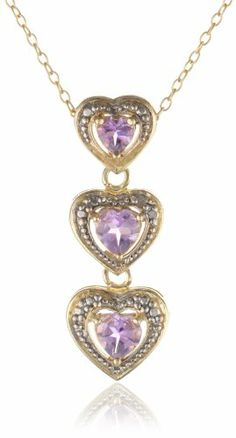 Goldtone Finish Silver Diamond Accent Gemstone Triple Heart Pendant Necklace
