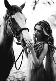Ladies and their horses! Beautiful horse in Romantic horse photography.