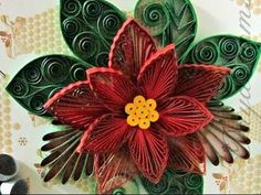 Paper Quilling How to make Beautiful Quilling Red/Pink Flower Quilling -Paper Art Quilling - YouTube