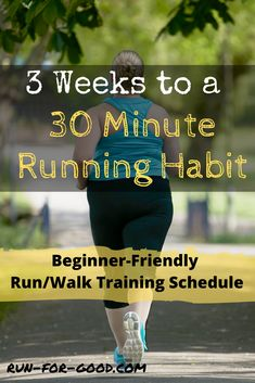 Running Plan Discover 3 Weeks to a 30 Minute Running Habit This beginner running schedule is designed to encourage a new running habit. By the end of three weeks youll be able to run/walk for 30 minutes. Running Schedule For Beginners, Running Routine, Running Plan, Running On Treadmill, Running Workouts, Running Tips, Running Training Programs, Training Schedule, Learn To Run