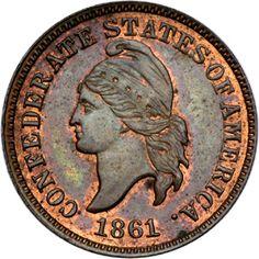 1861 Confederate cent restrike, obverse.