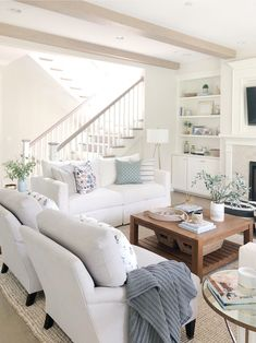 Open concept living room, open staircase, neutral decor, classic gray Benjamin Moore sofa with white Living Room Grey, Home Living Room, Interior Design Living Room, Living Room Designs, Living Spaces, Living Room Sets, Open Living Rooms, Living Room Decor Beach, Living Room Open Concept