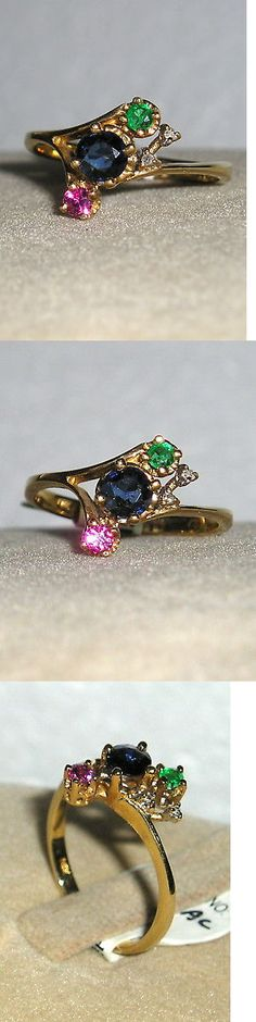 Rings 165044: Solid 14K Gold Ruby Sapphire Emerald Diamond Ring -> BUY IT NOW ONLY: $160 on eBay!