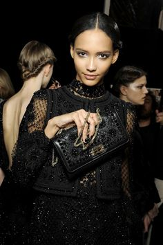Backstage at Valentino Fall/Winter 2012 RTW at Paris Fashion Week.