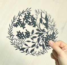 doe in the brush . original papercut . 11 x 14 . cut paper art