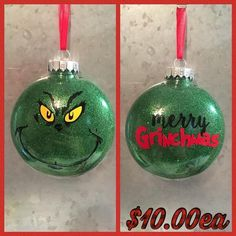 Merry Grinchmas Christmas Custom ornaments inspired by The Grinch character Christmas Ball Ornaments Diy, Vinyl Ornaments, Cricut Christmas Ideas, Grinch Christmas Tree, Grinch Christmas Decorations, Grinch Ornaments, Homemade Ornaments, Custom Ornaments, Christmas Balls