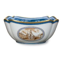 Bay Colony Bowl, Featuring a Different Scene on Each of the Four Sides:  Mass. Bay Colony Seal, Old State House, Boston Seal of 1630, USS Constitution.  Made Exclusively for Shreve, Crump & Low in Portugal.
