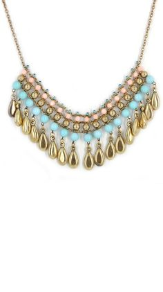 Beautiful statement necklace with blue and pink pastels. This would look amazing with a white blazer and blouse!  ^AN