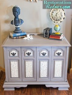 Refurbish an old piece with paint! French-Script-Grey-Cabinet