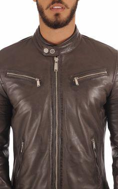 Blouson cuir style motard redskins