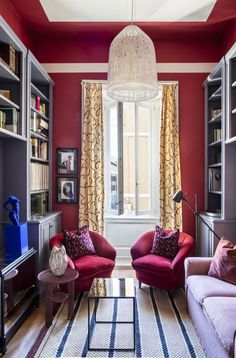 〚 Colorful eclectic interiors of old palazzo in Brescia, Italy 〛 ◾ Photos ◾ Ideas ◾ Design #red #classic #interiordesign #homedecor #ideas #inspiration #tips #cozy #living #style #space #interior #decor Small Living Rooms, Cozy Living, Red Interiors, Palazzo, Italy, Curtains, Interior Design, Inspiration, Furniture