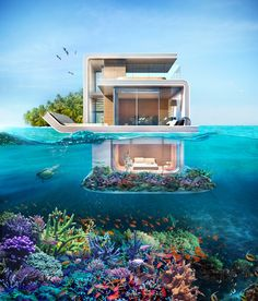 Floating Seahorse Villa in Dubai is an iconic underwater house and a luxury lifestyle product which was officially unveiled at Dubai International Boat Show Dream Home Design, Modern House Design, Vacation Places, Dream Vacations, Vacation Spots, Underwater Bedroom, Ocean Underwater, Beautiful Homes, Beautiful Places