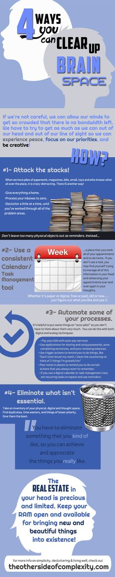 #Health #Infographics - Ideas For Clearing Up Brain Space #Infografia