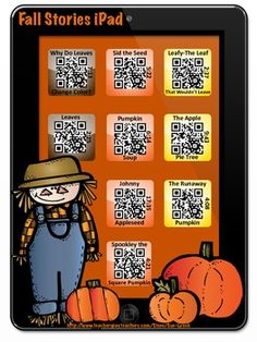 Listening Center with a twist! This is a Fall themed iPad with 9 stories that can be enjoyed by scanning a QR Code! So fun! Check out all the iPad Listening Centers in my store~including authors Kevin Henkes, Dr. Seuss, Mo Willems, etc. #QRCodes #ListeningCenter #FallStories