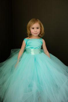The Grace Dress in Robin's Egg Blue Flower Girl Tutu