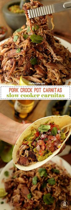 The best slow cooker carnitas recipe where slow cooking brings out the flavor and retains the moisture while keeping the meat super juicy when stored.