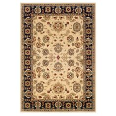 Create a bold statement in any room with this area rug. This rug has a rich palette of cream, black, red, green, beige and tan along with a traditional design that will add a beautiful look and to your home.
