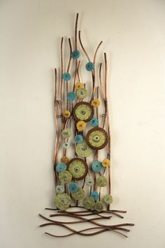 Growth by Hannie Goldgewicht (Mixed-Media Wall Sculpture) Dollar Tree Organization, Diy And Crafts, Arts And Crafts, Ceramic Wall Art, Media Wall, Driftwood Crafts, Diy Wall Art, Stick Wall Art, Wall Sculptures