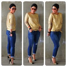 Mimi G Styles Pinterest | mimi g.: OOTD: Gold Sweater + Cap Toe Heels