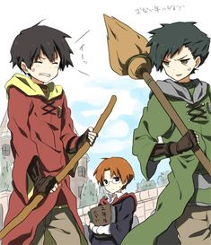 Sepia_harusame, Harry Potter, Marcus Flint, Oliver Wood, Percy Weasley, Quidditch