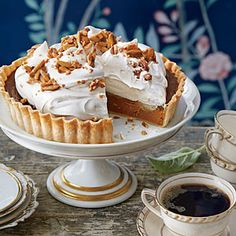 Pumpkin Tart with Whipped Cream and Almond Toffee | MyRecipes.com