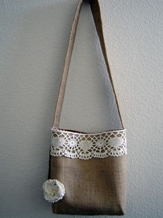 Items similar to Handbag Cross Body Shoulder Style Bag Burla.- Items similar to Handbag Cross Body Shoulder Style Bag Burlap and Lace on Etsy Burlap bags. My new obsession. Burlap Bags, Jute Bags, Sewing To Sell, Diy Tote Bag, Burlap Crafts, Linen Bag, Bag Patterns To Sew, Denim Bag, Fabric Bags