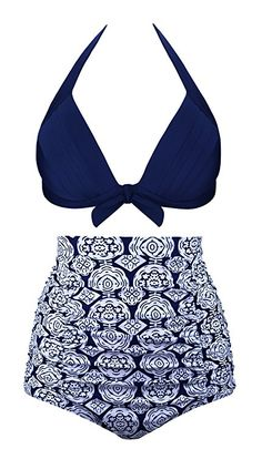c49b4e4b2fb Aixy Women Vintage Two Piece Swimsuits High Waisted Bathing Suits Retro  Halter Top Womens High Waisted