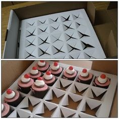 Cupcake storage and carrier out of pizza box- genius Cupcake Packaging, Bakery Packaging, Chocolates, Gateaux Cake, Bakery Business, Pastry Shop, Box Cake, Cupcake Cookies, Cupcake Tray